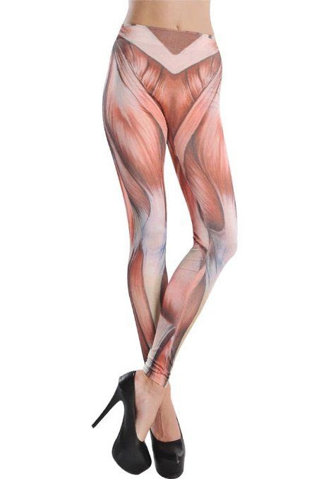 """FUNKY """"MUSCLES"""" LEGGINGS!!  Amour- Women's Pattern Leggings Cotton Stretch Pants - Many Designs (00-Adventure Time:Purple): Clothing"""