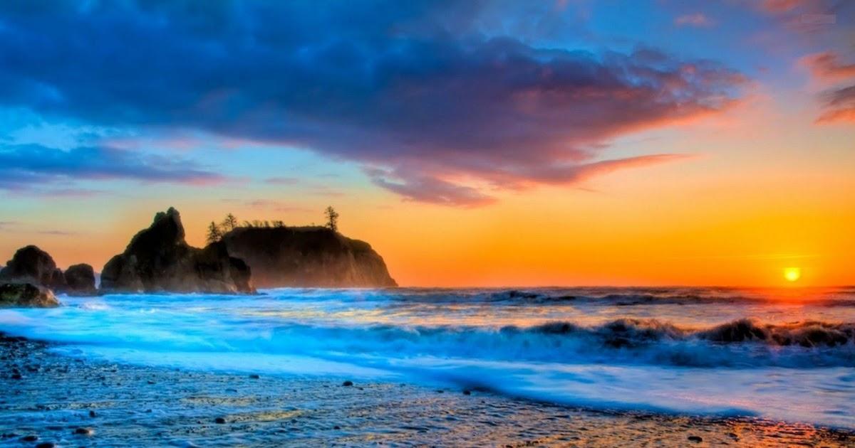 69+ Aksesoris Gambar Arsiran Pemandangan Pantai Sunset ...