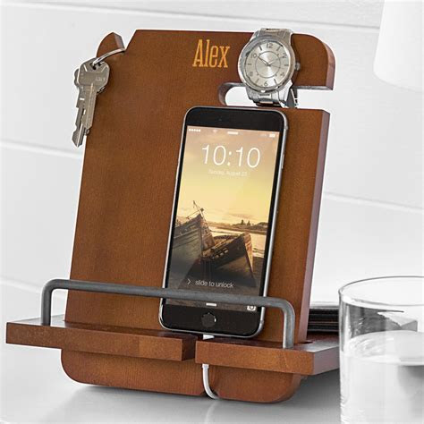 Personalized Wood Phone Docking Station Organizer