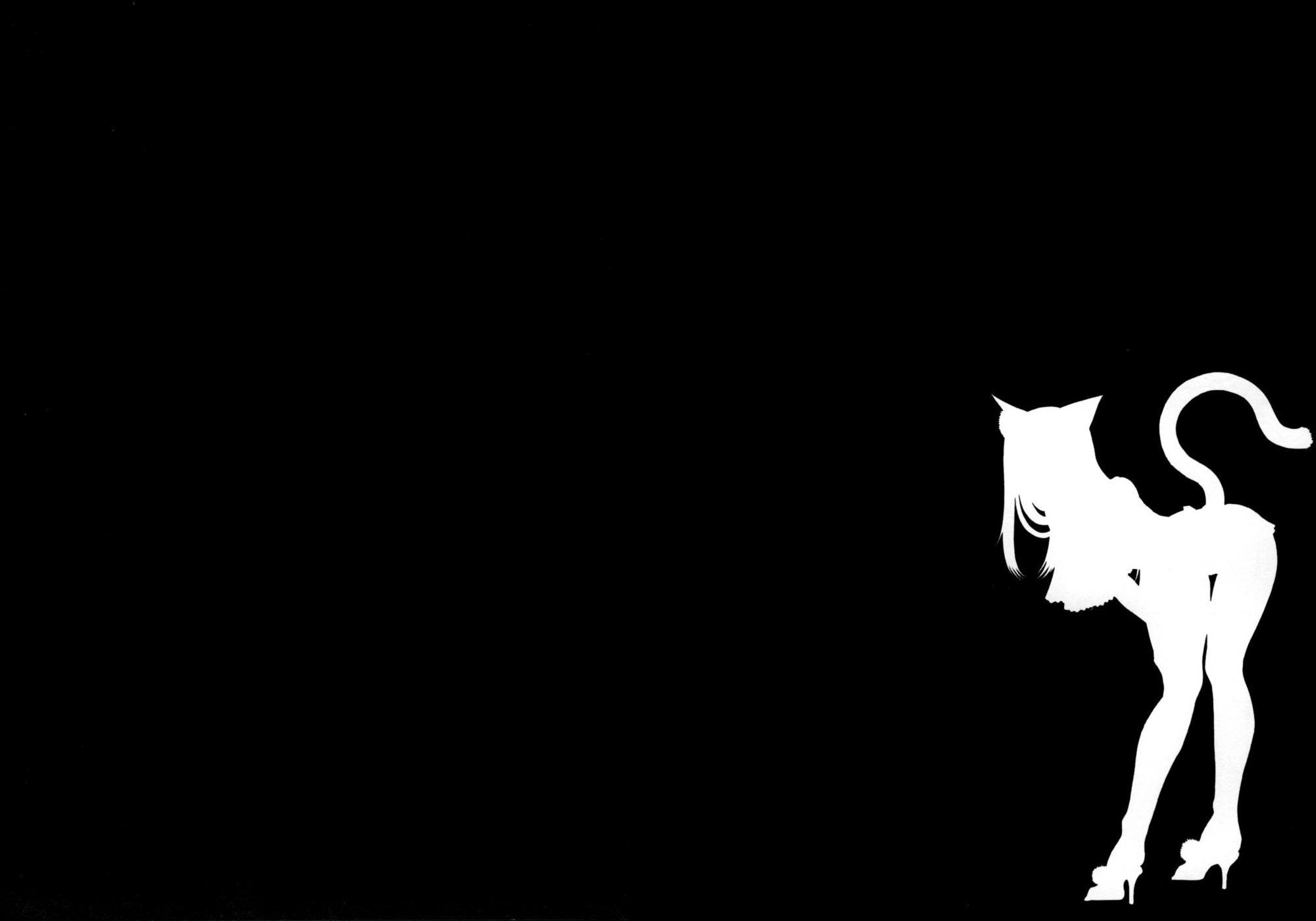 Silhouette, Cat Girls, Nekomimi, Super Hero, Black and ...