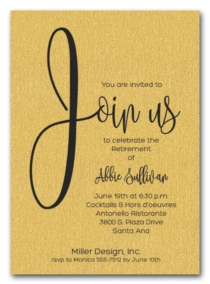 Shimmery Gold Join Us Retirement Party Invitations