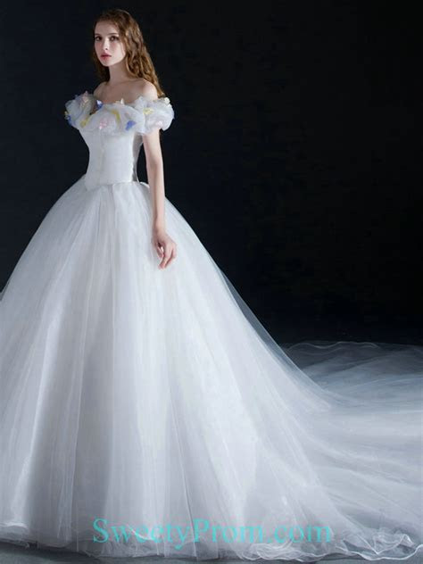 Organza Ball Gown Off The Shoulder White Cinderella