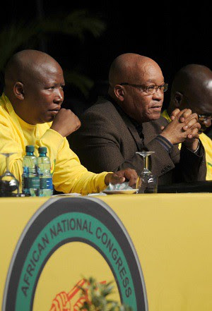 African National Congress Youth League President Julius Malema with ANC head and Republic of South Africa President Jacob Zuma at the ANCYL conference. by Pan-African News Wire File Photos
