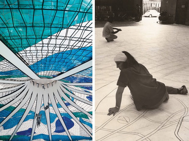Interior da Catedral de Brasília (à esq.) e Marianne planejando vitrais do local (Foto: Marianne Peretti/ Arquivo Pessoal/Breno Laprovítera e Jarbas Jr)