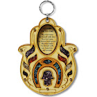 My Daily Styles Wooden Hamsa Blessing for The Home - in English - Good Luck Wall Decor with Simulated Gemstones