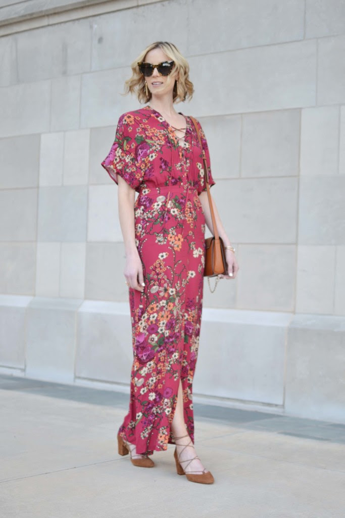 WAYF floral maxi dress, lace up sude shoes, chloe dupe bag 1