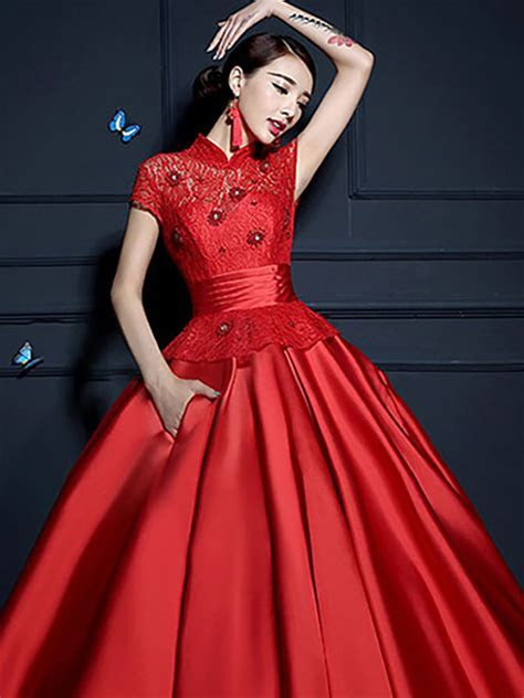 Floral lace short sleeve mandarin collar Chinese red