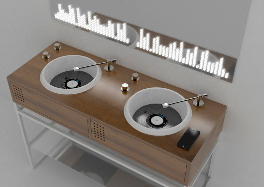 Olympia Ceramica Introduces Vinyl Inspired Bathroom Sinks by Gianluca Paludi - Design Milk