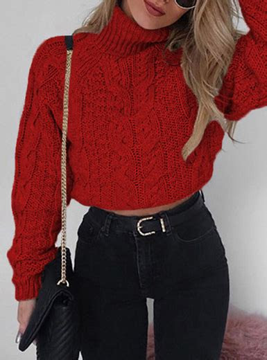 womens cropped cable knit turtleneck sweater red