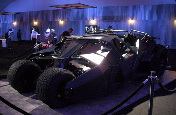 The Tumbler from BATMAN BEGINS and THE DARK KNIGHT on display at L.A. Live, on December 7, 2012.
