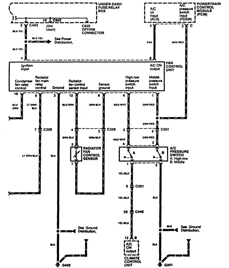 Acura RL (1996 - 1999) - wiring diagrams - cooling fans ...