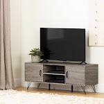 South Shore 12118 Evane Stand with Doors for TVs Up to 55, Oak Camel