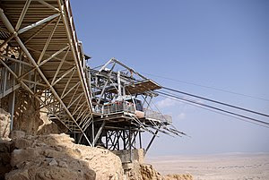 English: Israel. Aereal Ropeway Masada. Upper ...