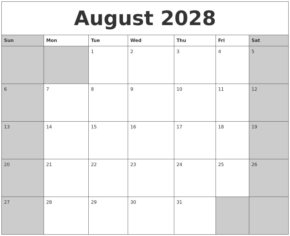 august 2028 calanders