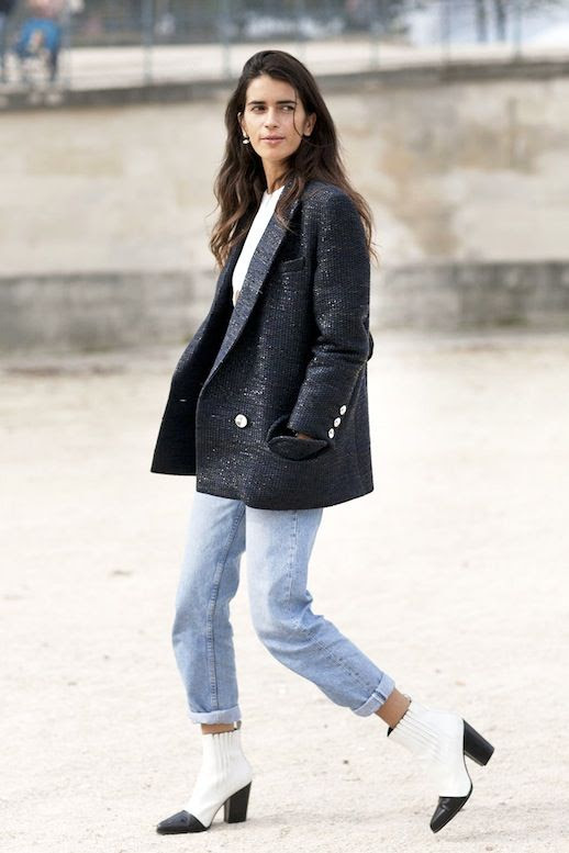 Le Fashion Blog Stylist Chiara Totire Black Glittery Oversize Blazer White Tee Cuffed Light Wash Boyfriend Jeans Two Tone Boots Via Popsugar