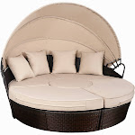 Gymax Outdoor Mix Brown Rattan Patio Sofa Furniture Round Retractable Canopy Daybed