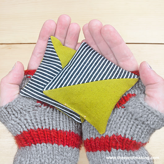 Last-Minute Gift Idea: Half Square Triangle Hand Warmers | The Zen of Making