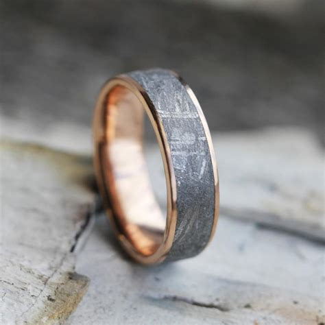 Gibeon Meteorite Ring, 14k Rose Gold Wedding Band, Space
