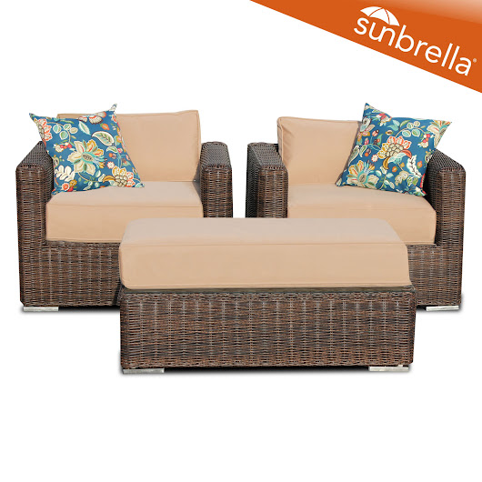3 Piece Outdoor Wicker Patio Furniture Seating Set