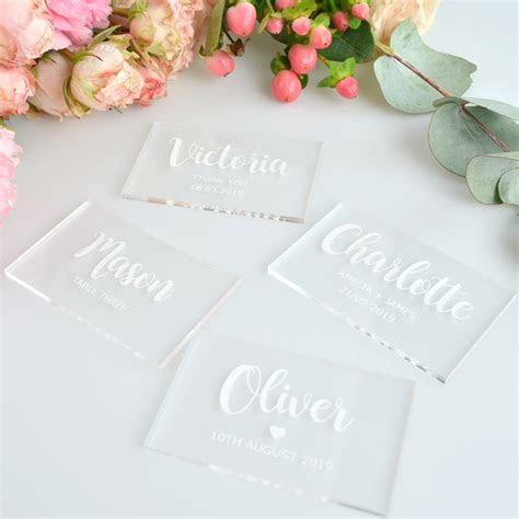 Engraved Acrylic Clear Rectangle Wedding Placecards