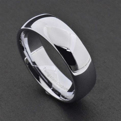 mm tungsten silver white polish classic dome band mens