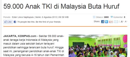 59.000 anak TKI di Malaysia Buta Huruf