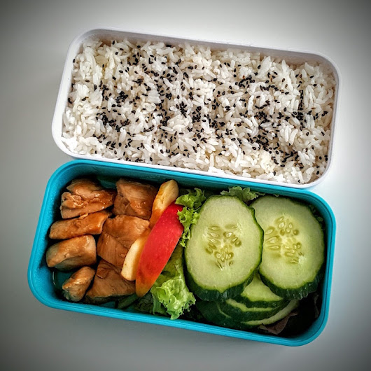 Simple chicken teriyaki bento in Cookar, a cooking blog