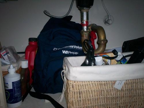 Survival Backpack Under Sink