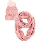 Luxury Divas Pink Winter Knit Circle Scarf and Beanie Hat Set with Fur Pom Pom