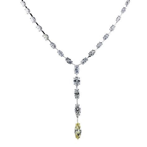 Platinum 23 Carat Fancy Yellow Marquise Diamond Y Necklace