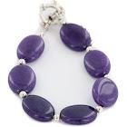 Certified Authentic Nickel Navajo Natural Purple Charoite Native American Bracelet 13039-14