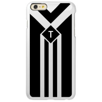 White Stripes and Chevrons on Black with Monogram Incipio Feather® Shine iPhone 6 Plus Case