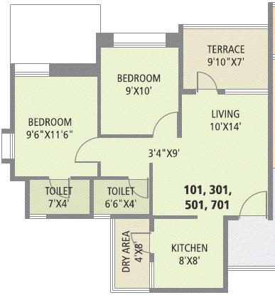 2 BHK Flat - 555 Carpet + 68 Terrace - Rs. 28.9 - 29.75 Lakhs - Pate Surajya Donaje Sinhagad Pune A, C Buildings