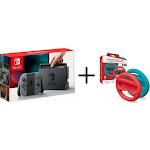 Nintendo Switch Gray Console (with Gray Joy-Cons) + Racing Wheel Set