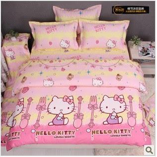Hot Sale Cute Hello Kitty Queen Size 100% Cotton Bedding Set ...