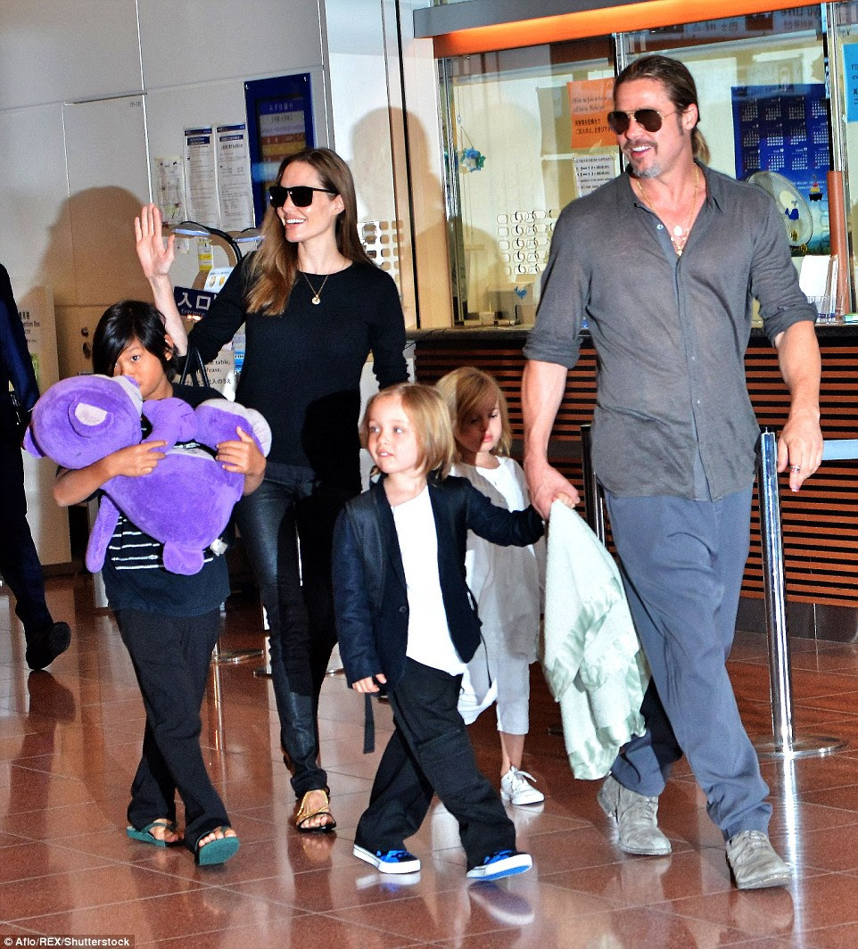 For the children? A source close to the couple said that Angelina, made the decision to file because of the way 'Brad was parenting the children,' adding that 'she was extremely upset with his methods'. The family are seen here in 2013