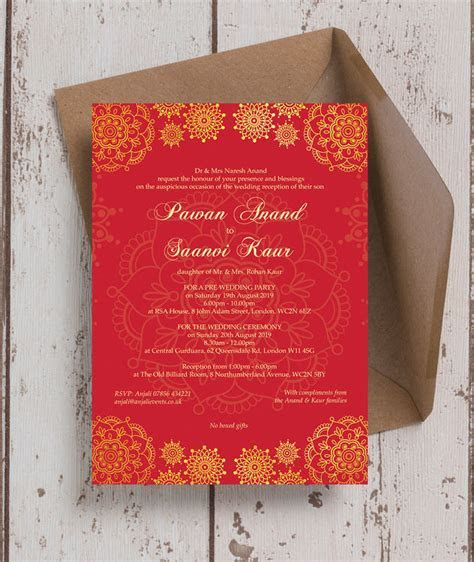Red & Gold Indian / Asian Wedding Invitation from £0.90 each