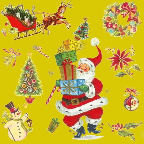 vintage Christmas on chartreuse!