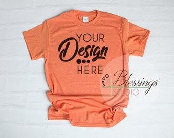Download Gildan 5000 Shirt Mockup Sunset Unisex Shirt T Shirt Flat ...