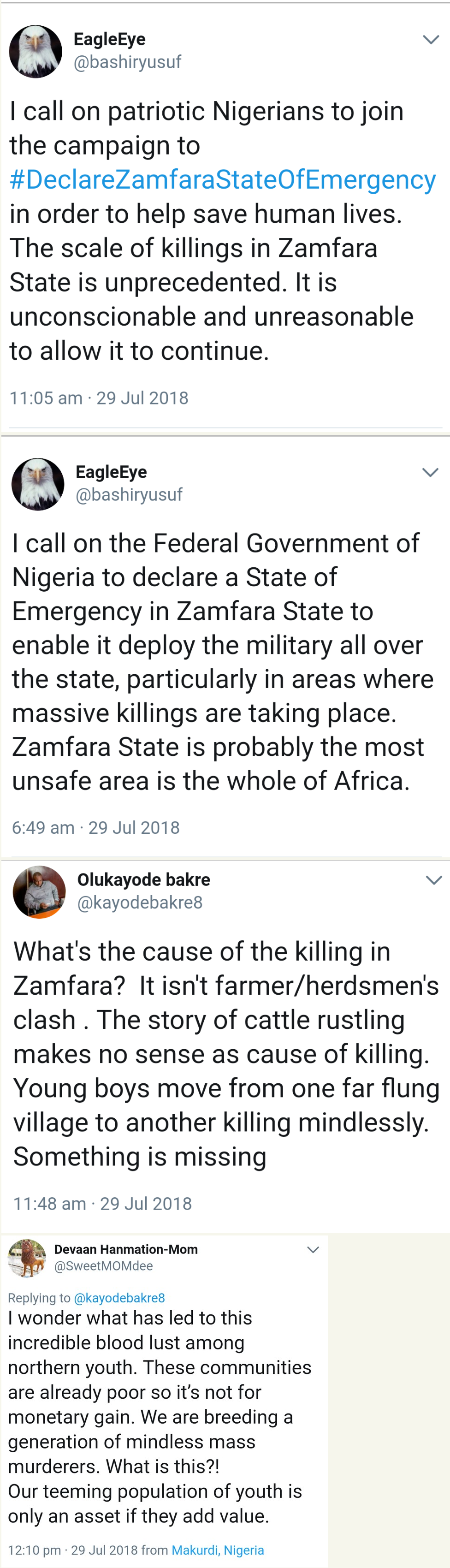 'Declare Zamfara State Of Emergency' – Nigerians Tell Buhari On Twitter (Photos)