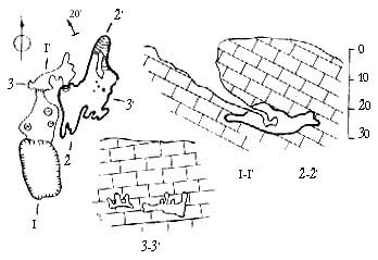 План и разрезы вскрытой пещера Мамина