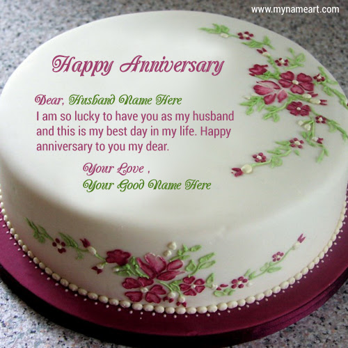 Write Husband Name On Cake Image For Anniversary Wishes