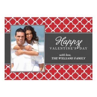 Quatrefoil Pattern Valentines Day Personalized Announcement