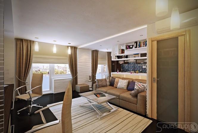 White brown living room