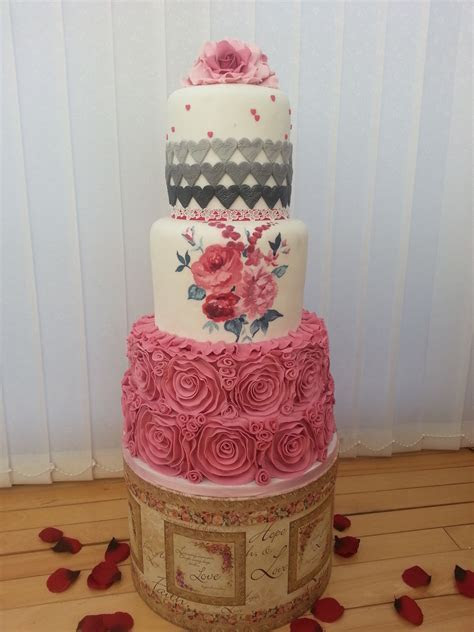 Pink And Grey Wedding Cake   CakeCentral.com