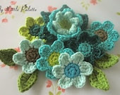 Crochet Flower Appliques in Blue and Green--( 11 pcs ) OC-BO-69 - Mylittlepalette