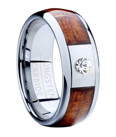 Men's Tungsten Ring with Koa Wood and CZ