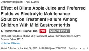 Resultat d'imatges de Effect of Dilute Apple Juice and Preferred Fluids vs Electrolyte Maintenance Solution on Treatment Failure Among Children With Mild Gastroenteritis: A Randomized Clinical Trial