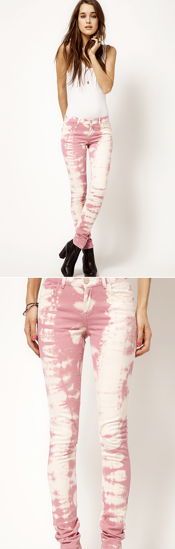 AFFORDABLE CHEAP BUDGET FRIENDLY TIE DYE DENIM JEANS ISABEL MARANT ALTERNATIVE PASTEL PINK ASOS Skinny Jean In Over Bleached Pink