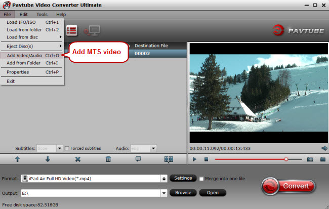 add mts video to mts converter
